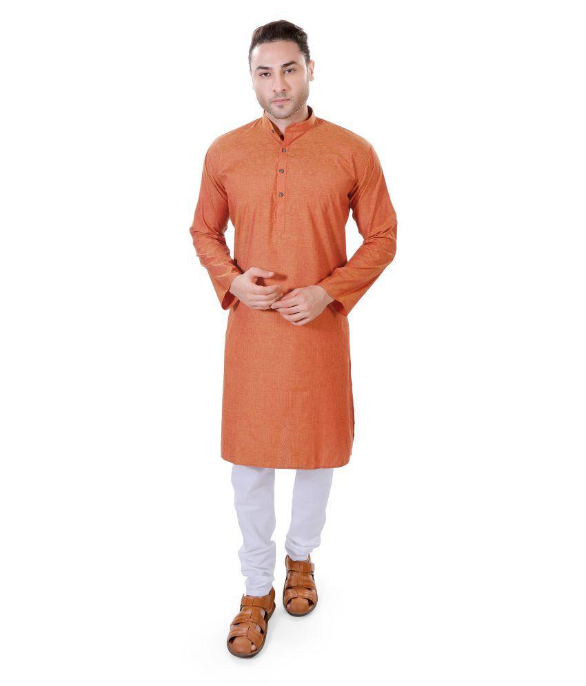 M Maharaja Orange Linen Kurta Pyjama Set