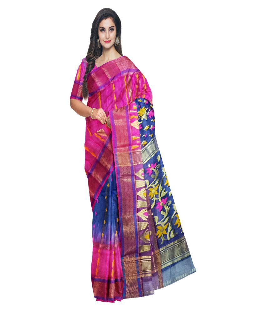 Pradip Fabrics Pink,Blue Silk Blends Saree