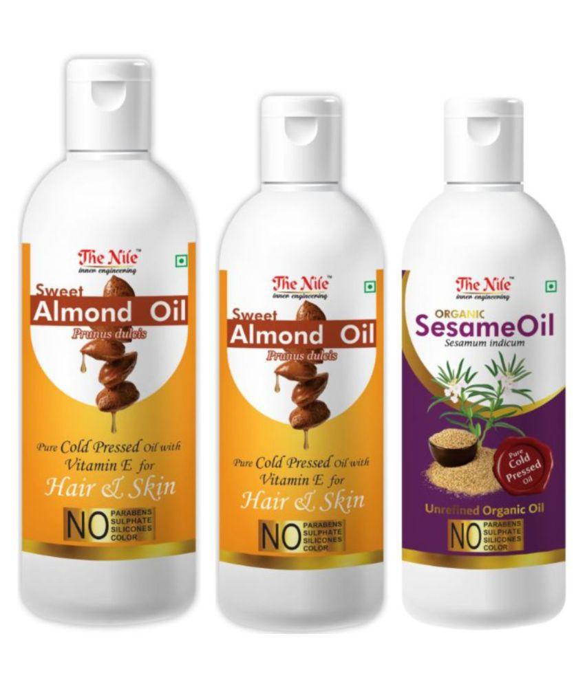 The Nile Almond Oil 150 Ml + 100 ML( 250 ML) + Sesame Oil 100 ML 350 mL Pack of 3