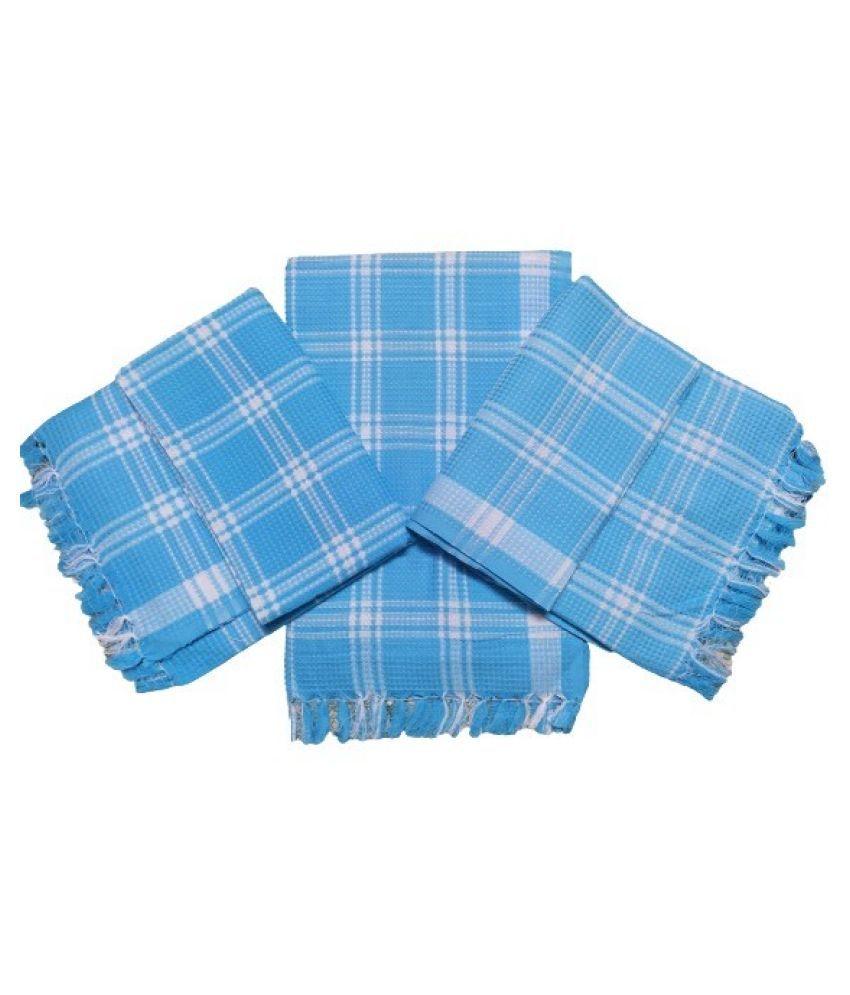 VIRUTSHAM Set of 3 Cotton Bath Towel Blue