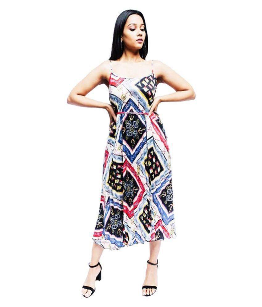 Anvi Be Yourself Crepe Blue A- line Dress