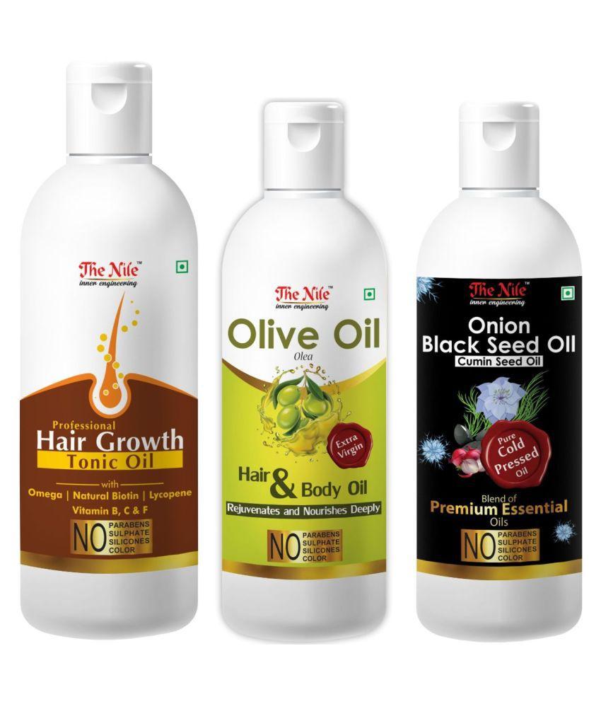 The Nile HairTonic 150 ML+ OnionBlackSeedOil 100ML+OLIVE OIL100ML 350 mL Pack of 3