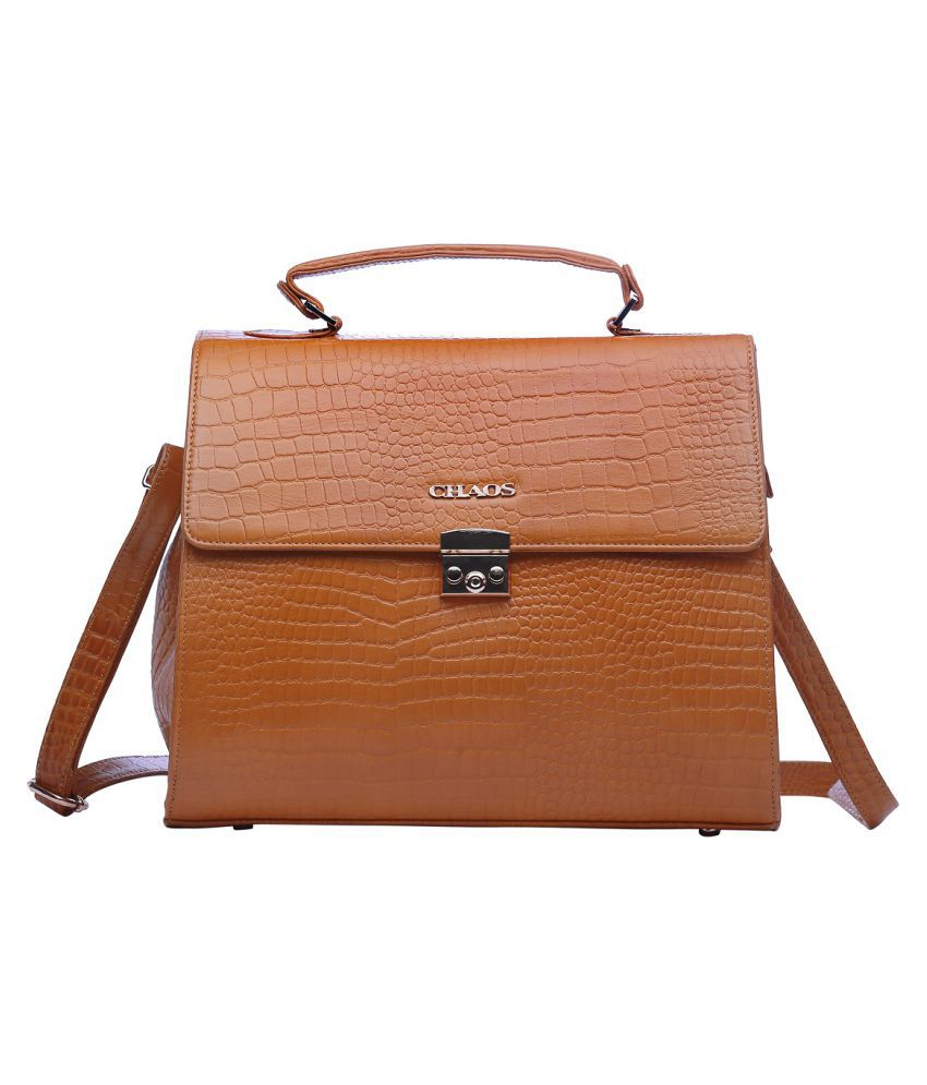 Chaos Beige Leather Briefcase