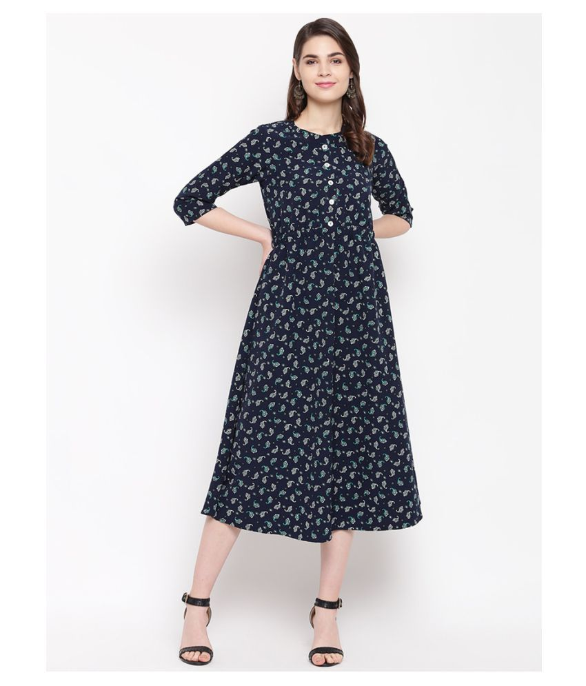 Gunsar Rayon Blue Fit And Flare Dress