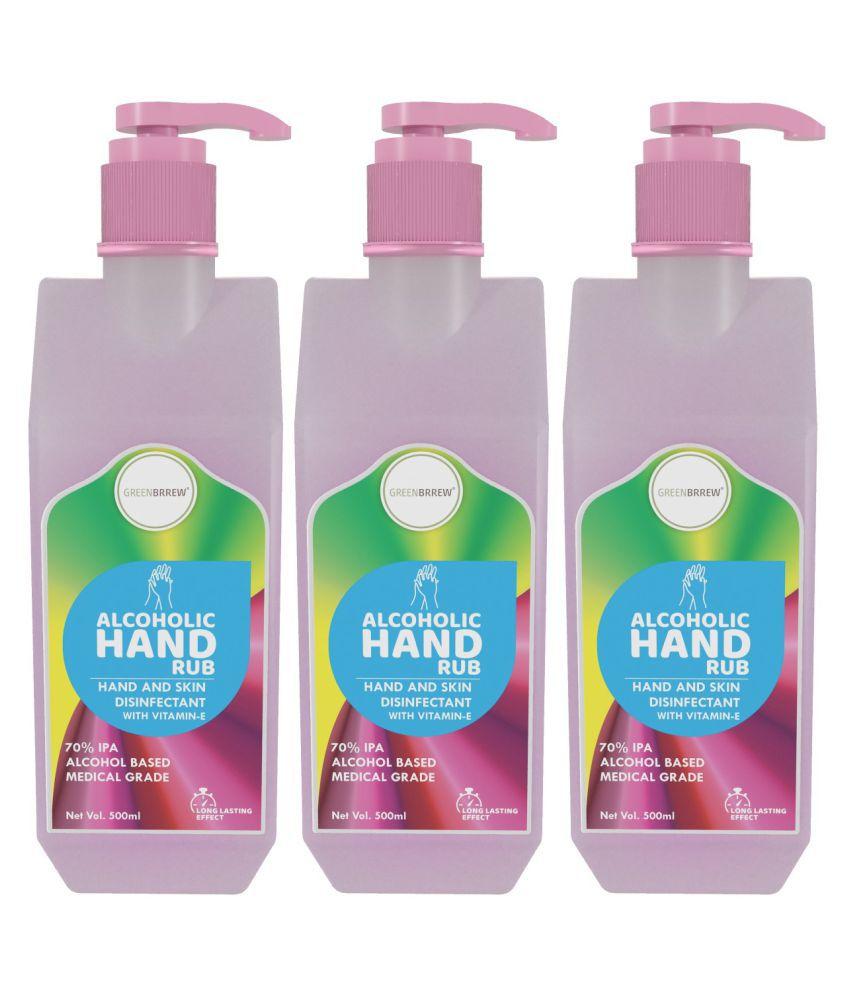 Greenbrrew Hand Rub Sanitizer 70% IPA Alcohol With Vitamin-E, Aloe Vera & Neem Extract, 500ml (Pack of 3)