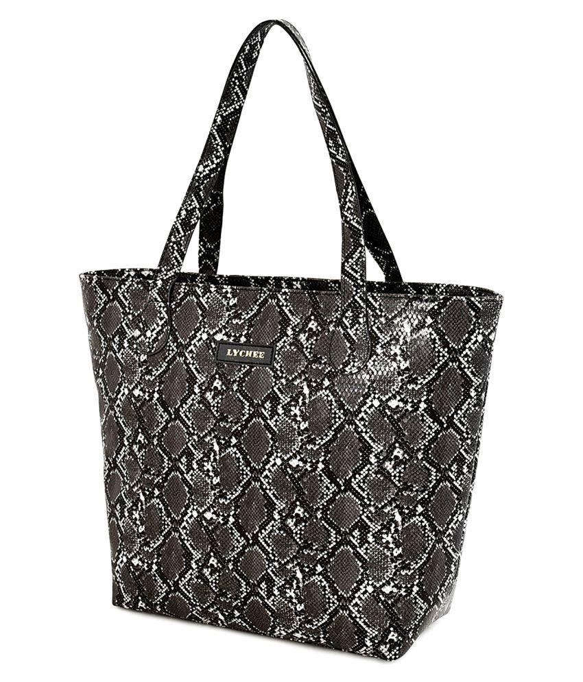 Lychee Bags Black P.U. Tote Bag