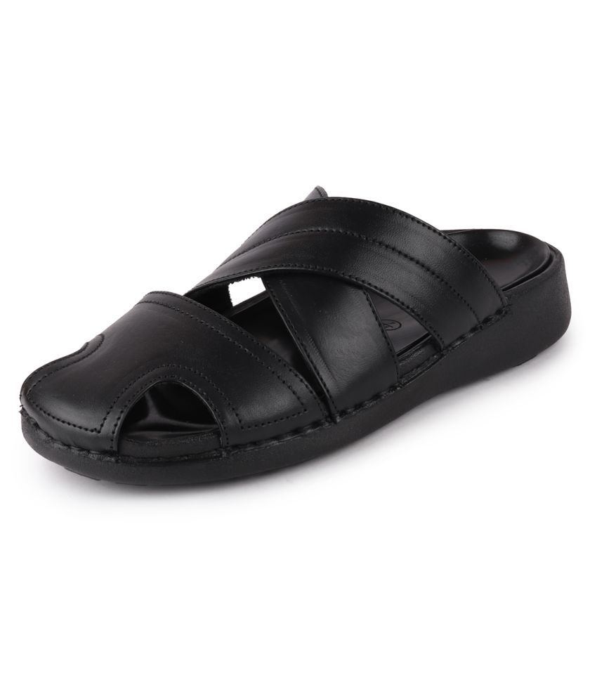 Fausto Black Leather Slippers