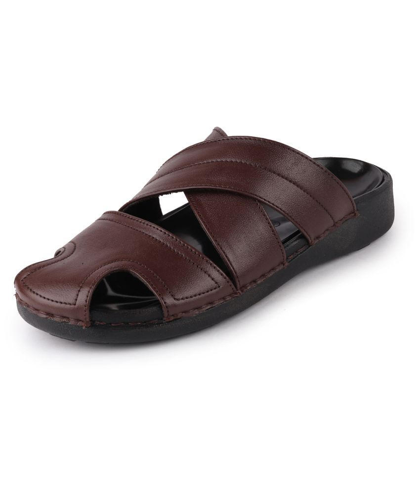 Fausto Brown Leather Slippers