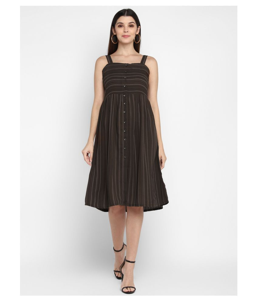 Fbella Cotton Brown Fit And Flare Dress