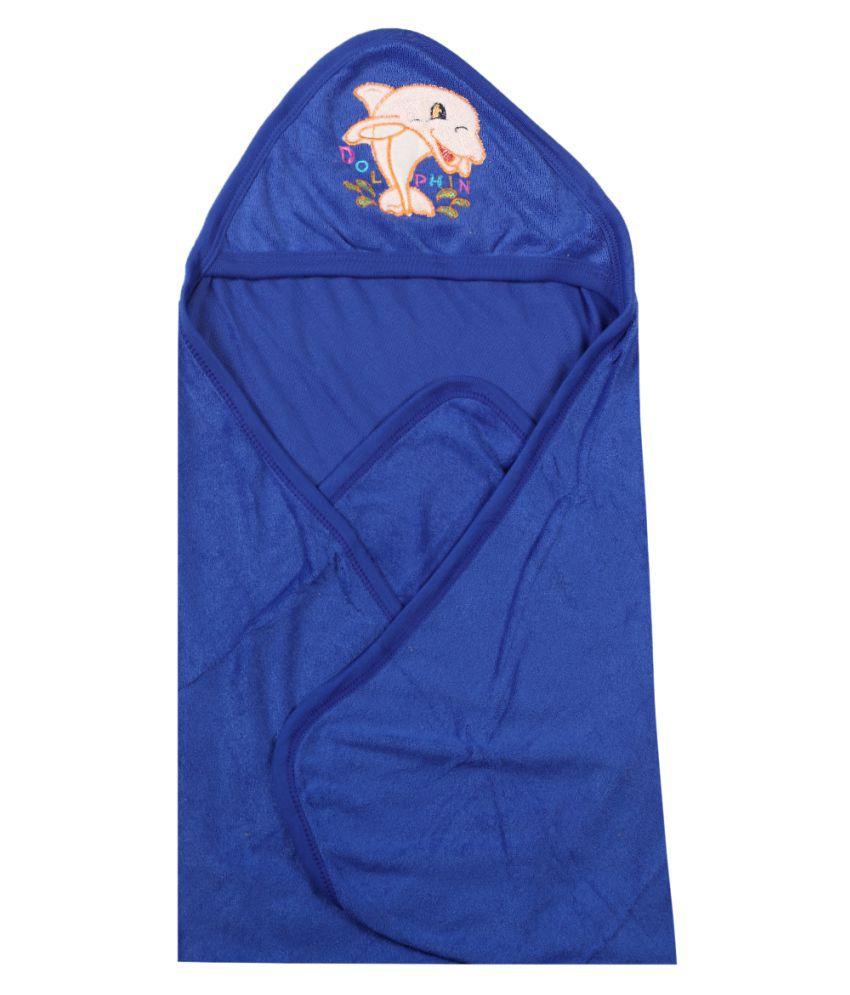 dorokids Blue Fleece Baby Wrap cum blanket ( 30 cm × 30 cm - 1 pcs)
