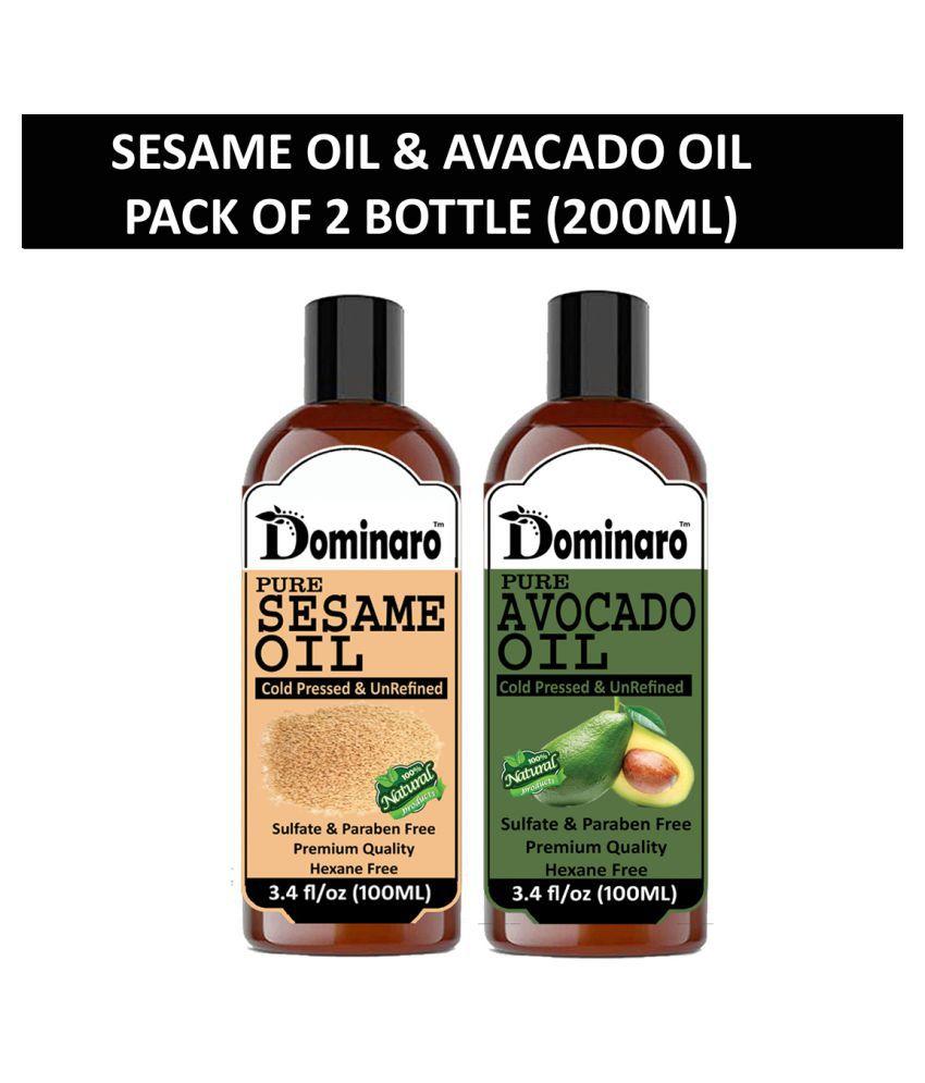 Dominaro 100% Pure Sesame Oil Avocado OIl 200 mL Pack of 2