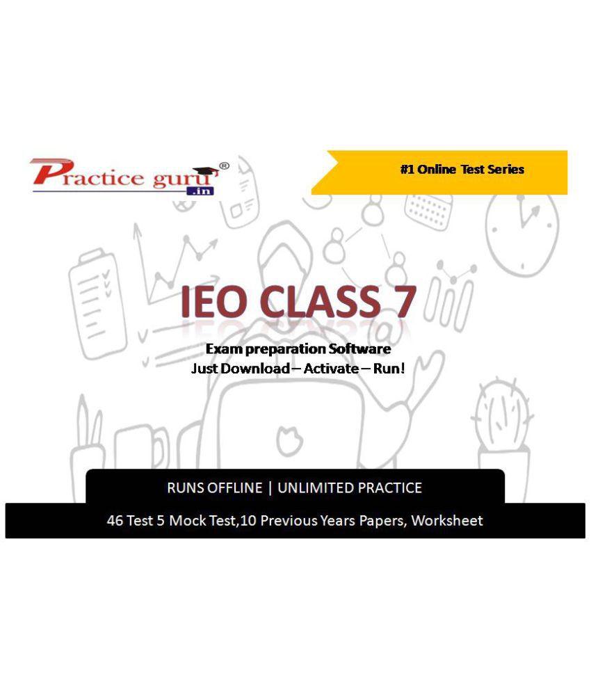 Practice Guru  46  Test 5 Mock Test,10 Previous Years Papers,10 Worksheet (Printable-PDF) for 7 Class IEO Exam  Online Tests