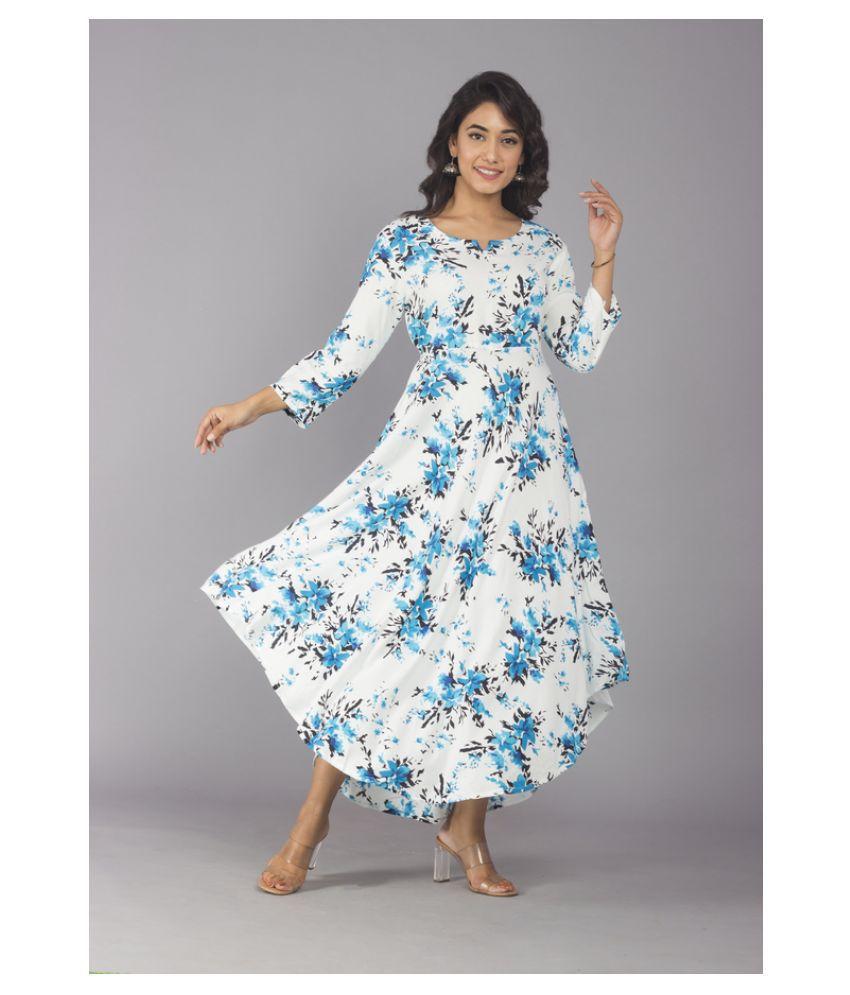 Urbanera Rayon White A- line Dress