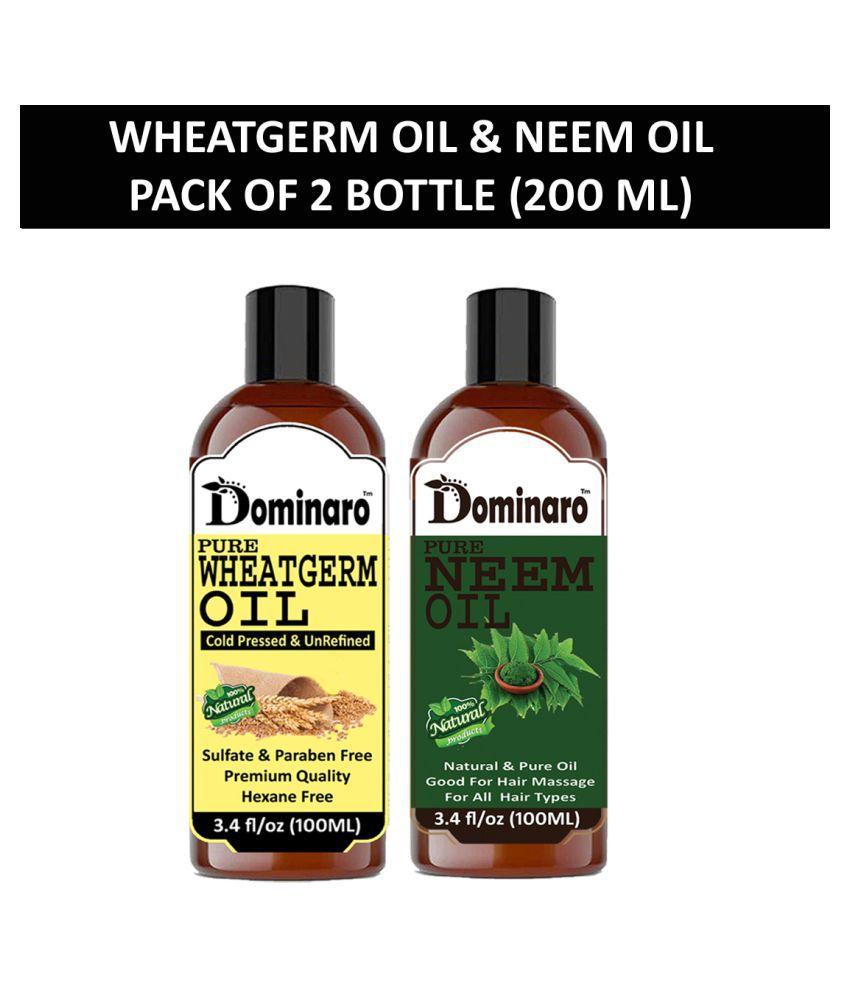 Dominaro 100% Pure Wheatgerm Oil Neem Oil 200 mL Pack of 2