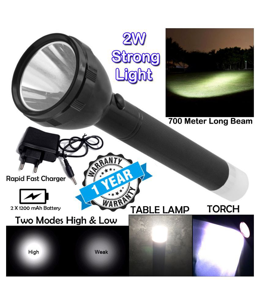 P 2in1 Powerful 3 Mode 700 Meter Range Rechargeable Waterproof LED Table Lamp 2W Flashlight Torch 2400 mAh Battery - Pack of 1