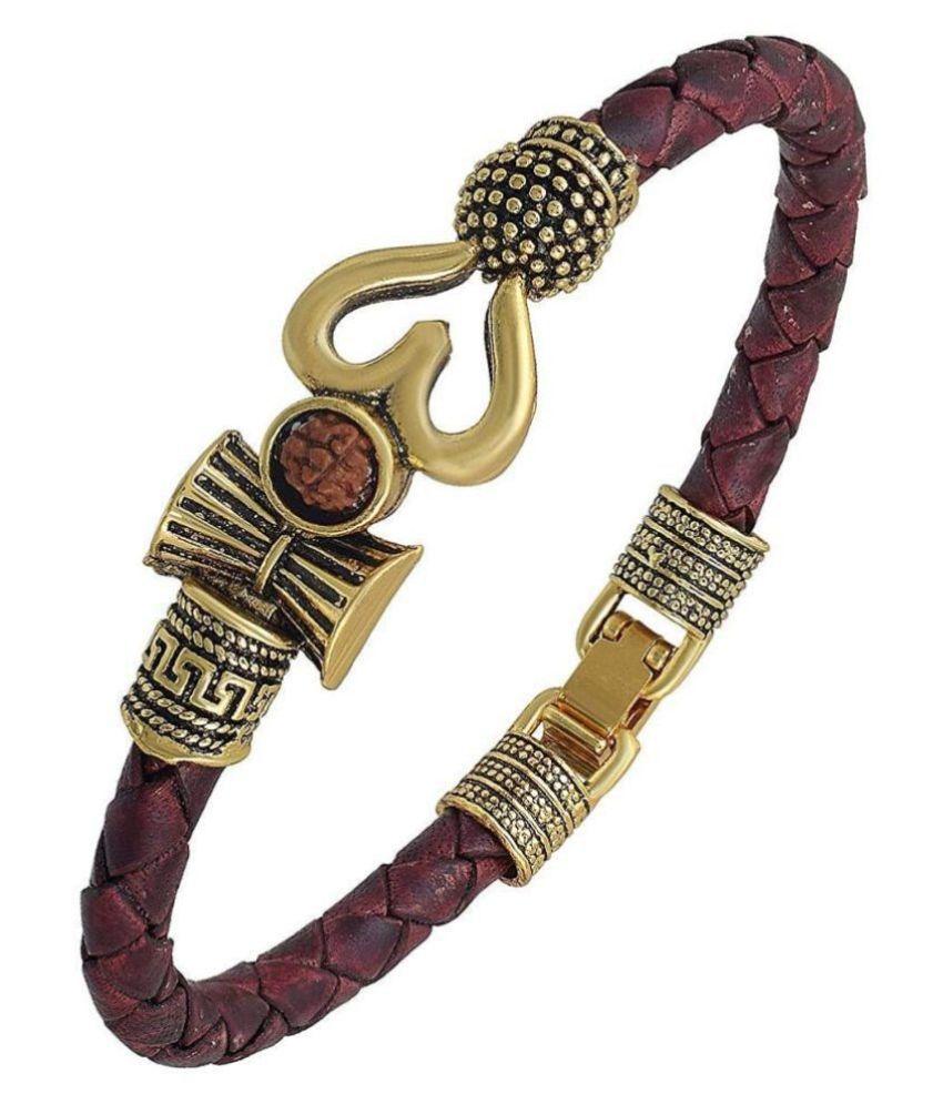 PC Rudraksha OM Trishul Damroo Designer Oxidized Gold Bahubali Leather Kada Bracelet for Men & Women