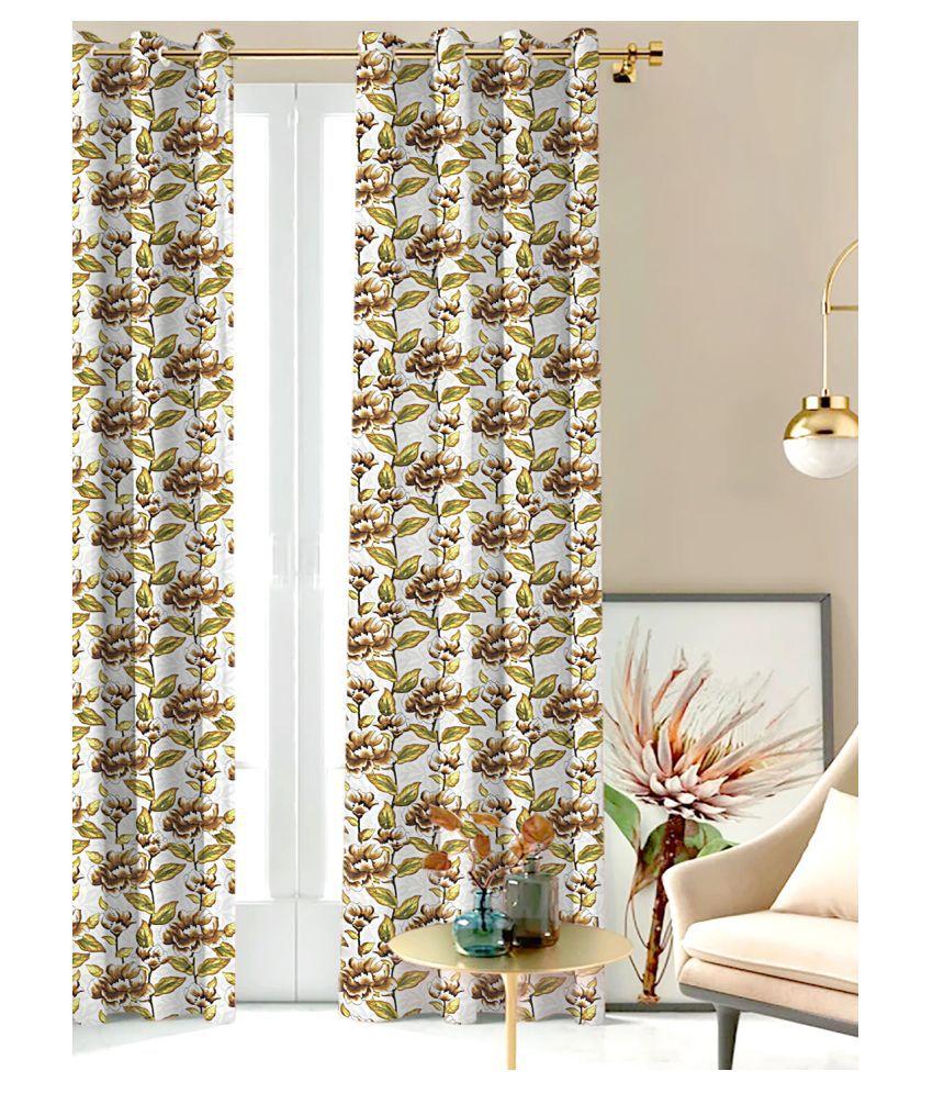 SHIVANAA HOMES Single Door Blackout Room Darkening Eyelet Polyester Curtains Multi Color