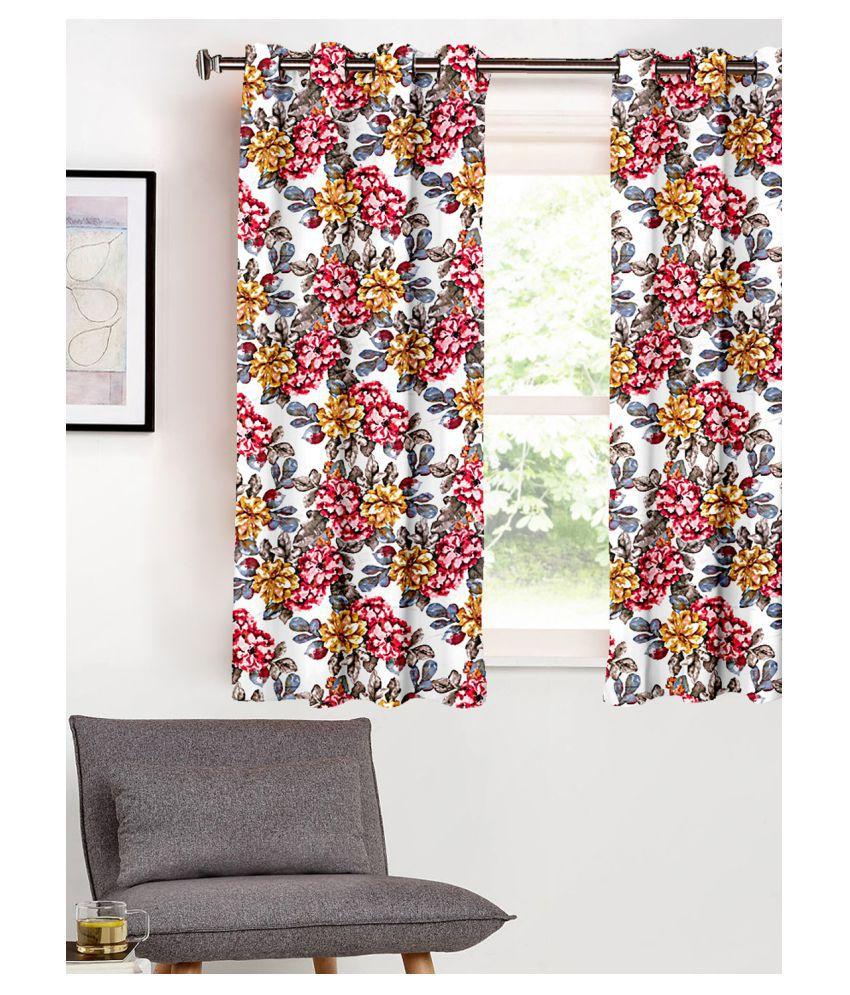 SHIVANAA HOMES Single Window Blackout Room Darkening Eyelet Polyester Curtains Multi Color