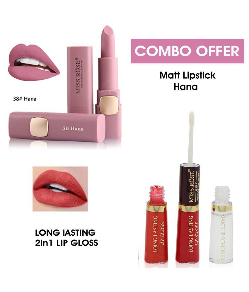 Miss Rose Matte Lipstick & 2in1 Lip Gloss Combo 7301-4 (38 Miss Rose Lipstick Light Purple Multi Pack of 2 50 g