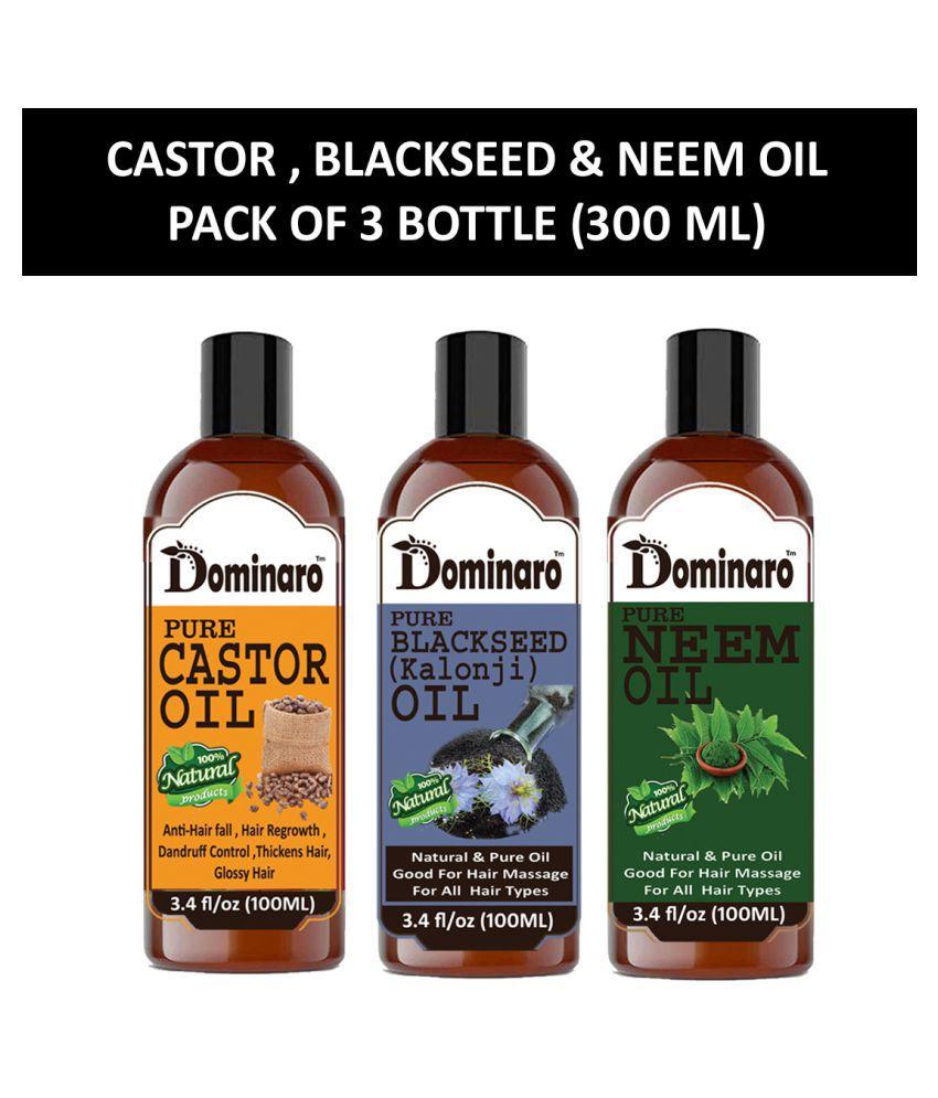 Dominaro 100% Pure Castor & Blackseed Oil Neem Oil 300 mL Pack of 3