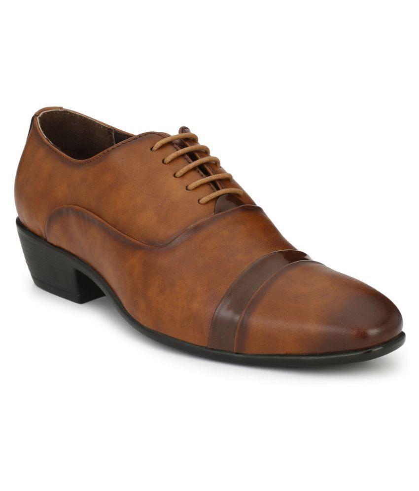 Delize Derby Artificial Leather Tan Formal Shoes