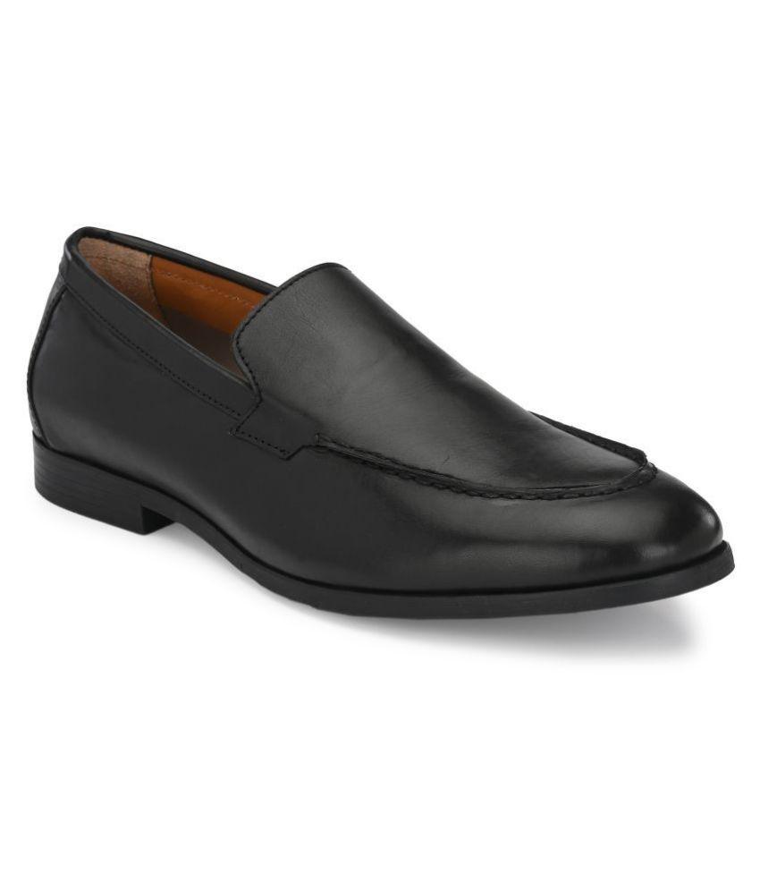 Delize Slip On Genuine Leather Black Formal Shoes