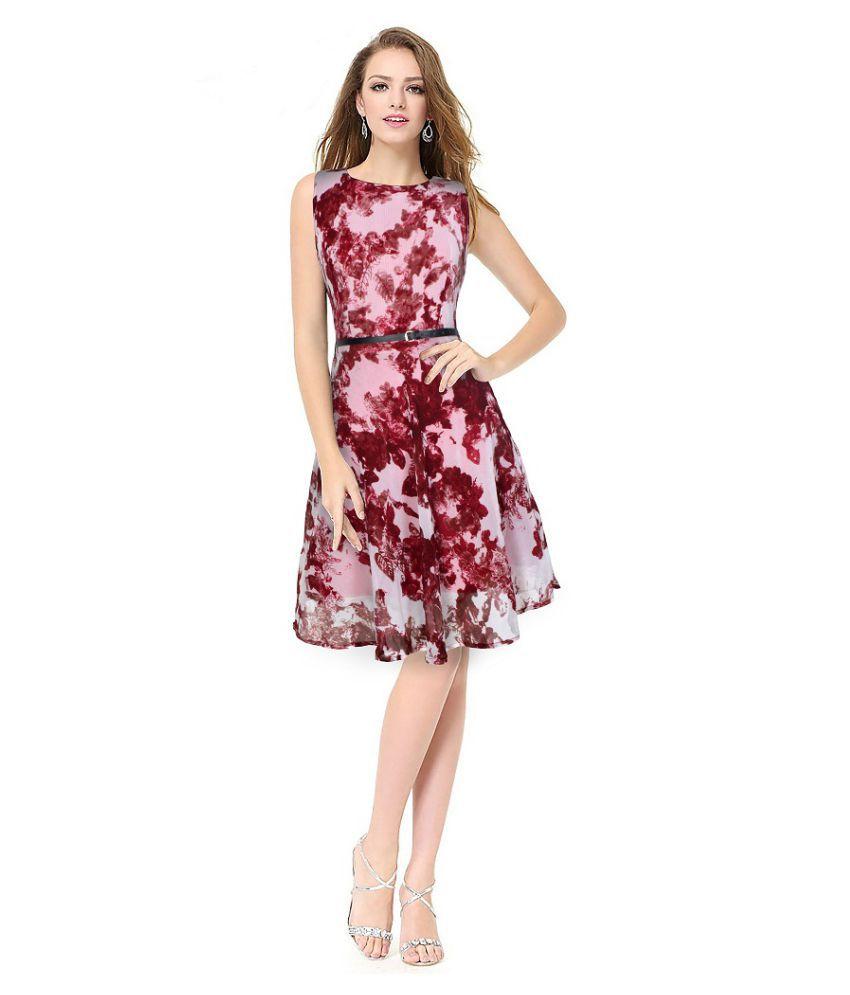 SK Creation Georgette Maroon Skater Dress