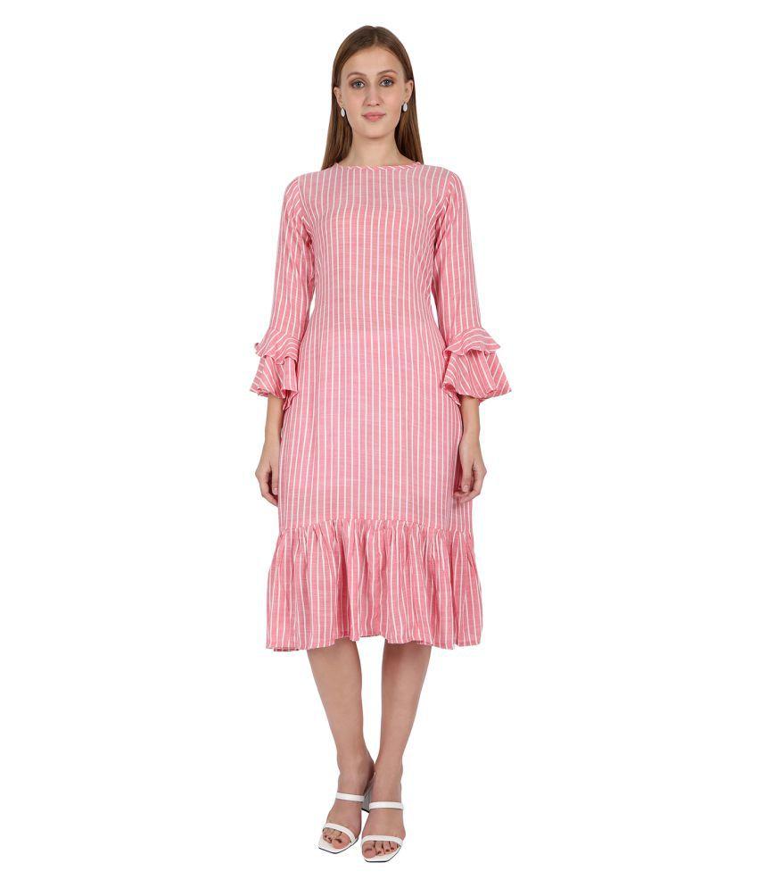 Leofab Cotton Pink A- line Dress
