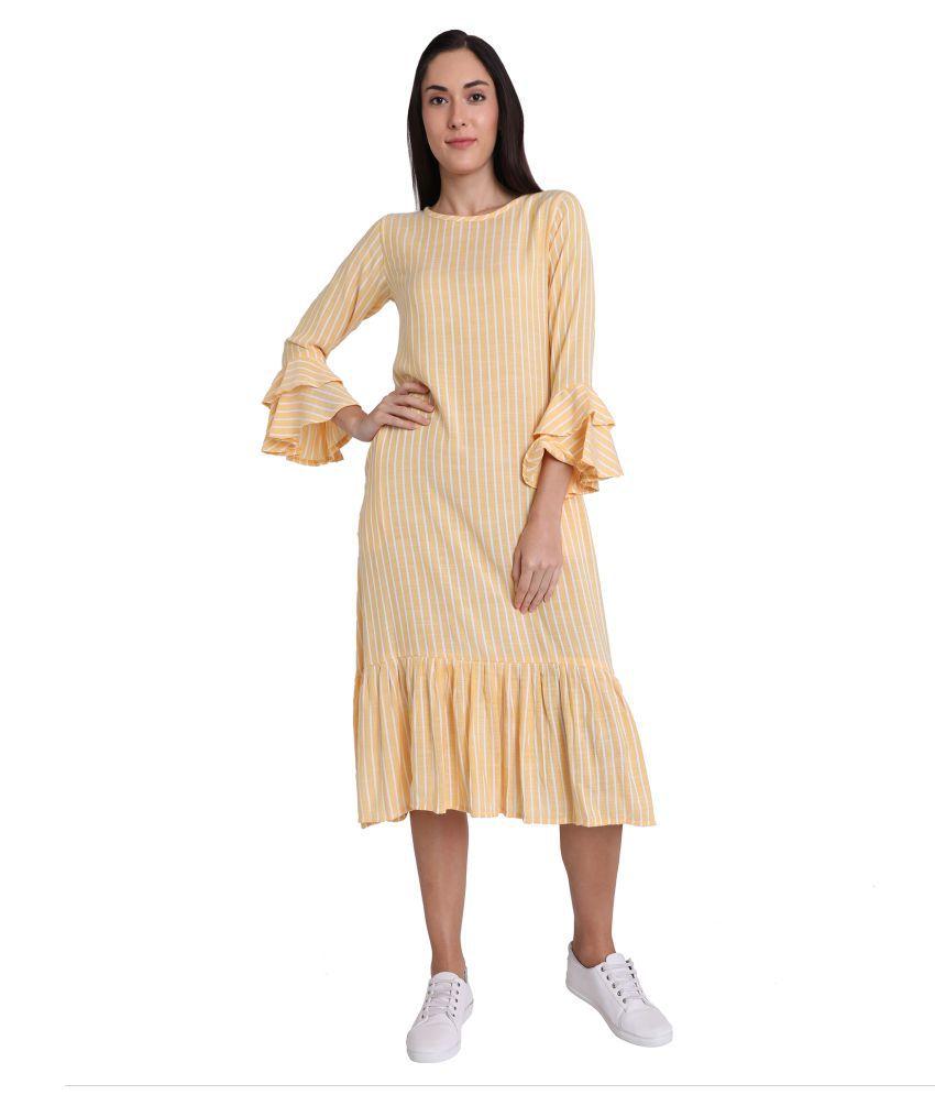 Leofab Cotton Yellow A- line Dress