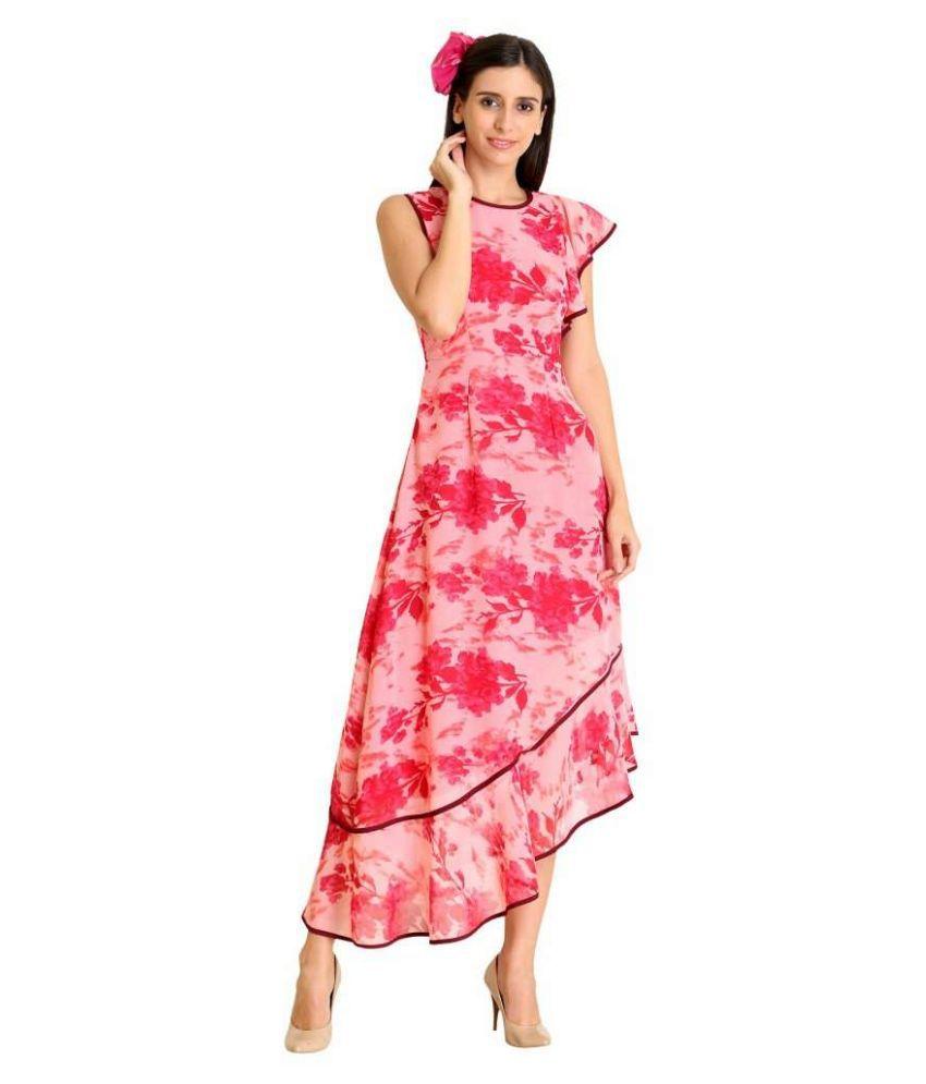 Raas Prêt Georgette Pink Asymmetric dress