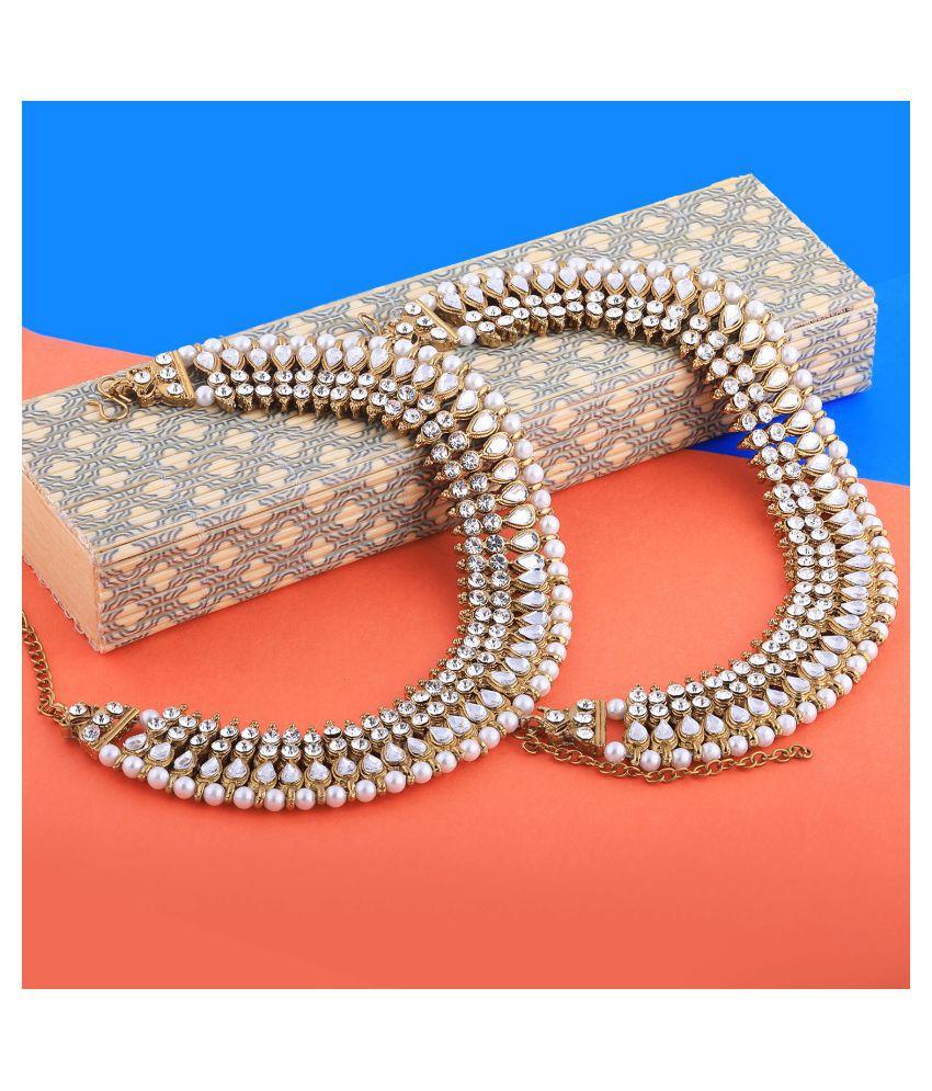 Charms Golden White Antique  Kundan Anklet For Women And Girl.
