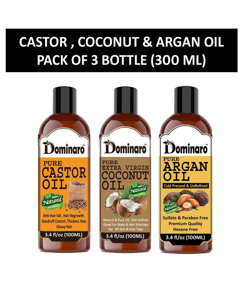 Dominaro 100% Pure Castor & Coconut Oil Argan Oil 300 mL Pack of 3