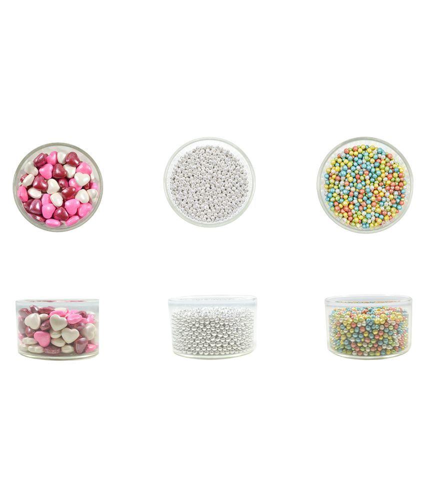 Glint Celebration Pack -Big (Silver Dragees, Pearl Ball, Heart Confetti) 225 g