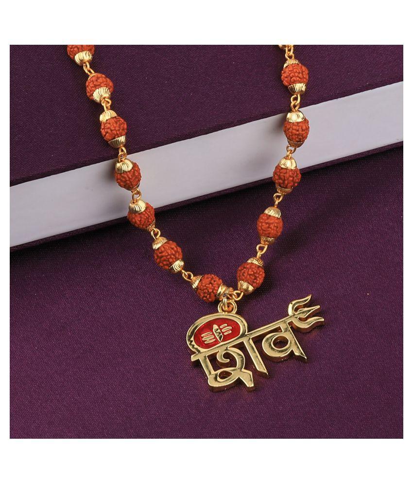 Attractive  Gold Plated Shiv Rudraksha Pendant Mala for Men and Women