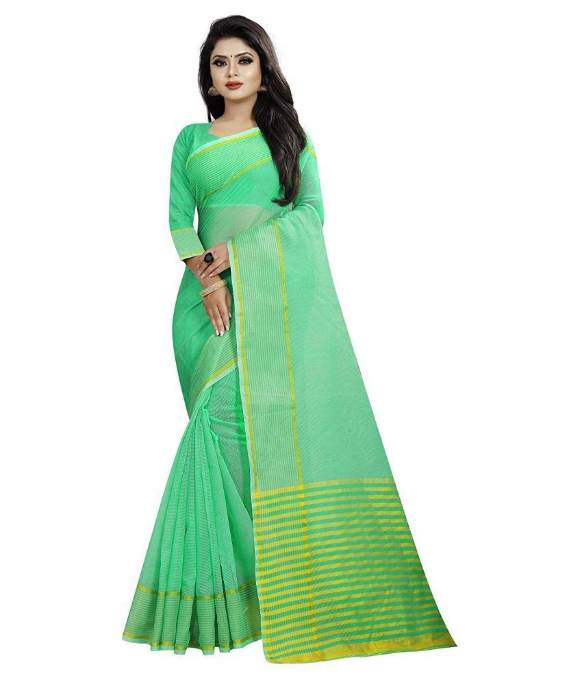 MAHANT ENTERPRISE_1 Green Cotton Silk Saree