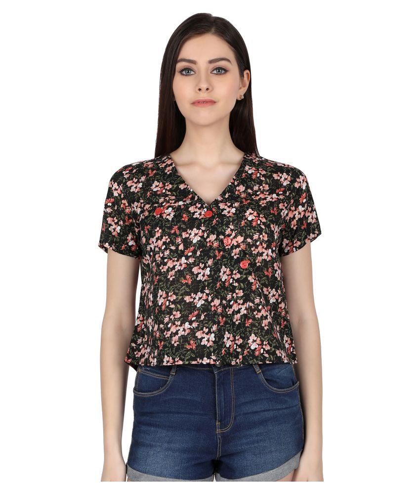 Zinnia Black Poly Cotton Shirt