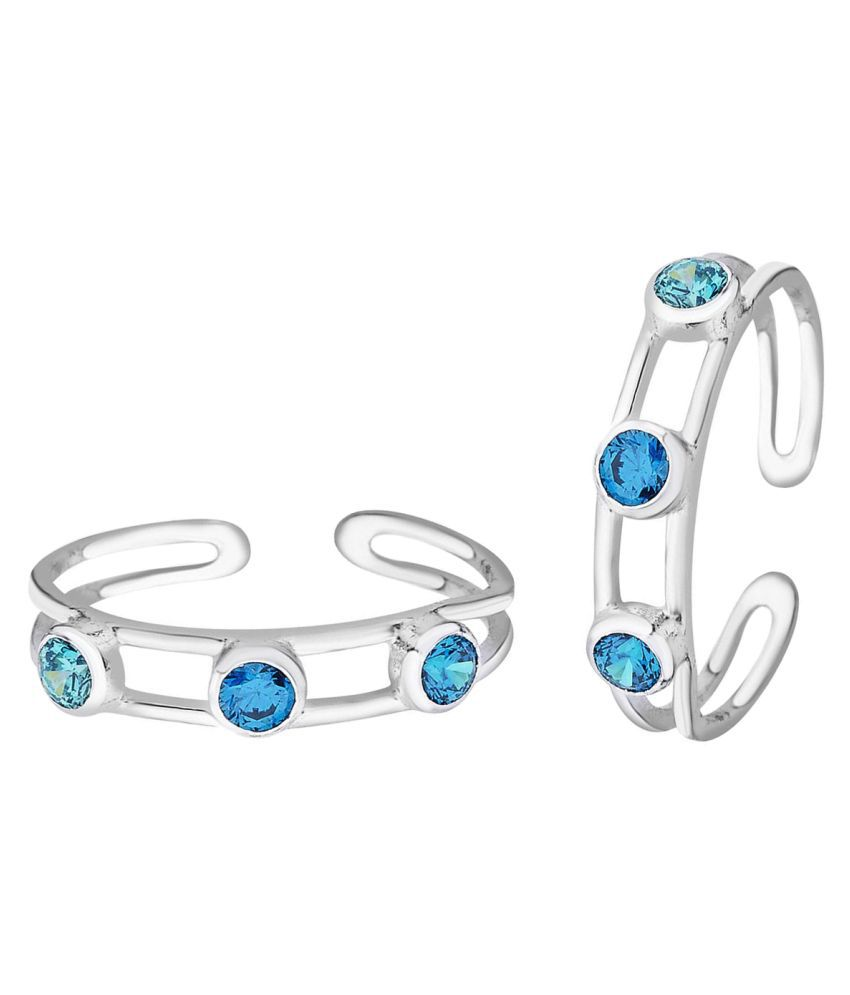 Gleaming Blue CZ Silver Toe Ring-TR366