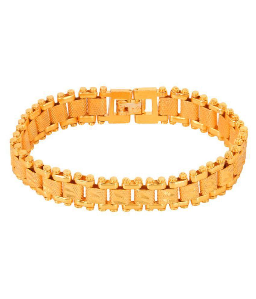 Jewar Mandi Gold Plated  8.5 Inch Bracelet For Men's