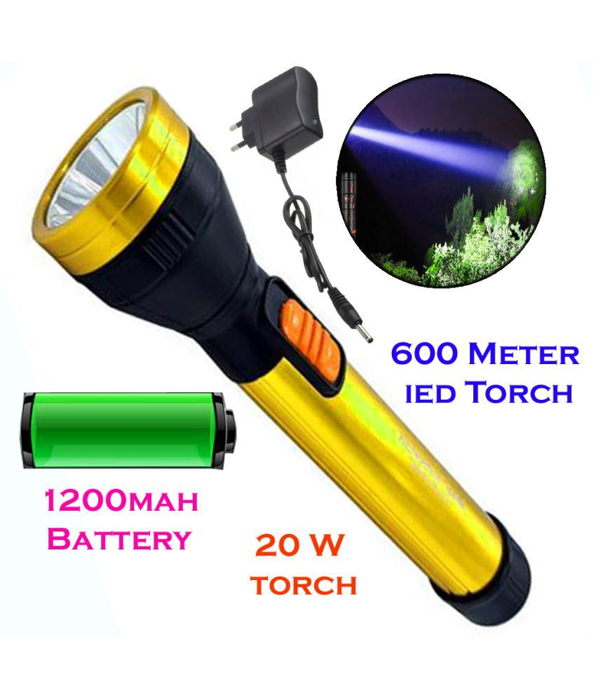 MS New 600mtr Rechargeable LED Waterproof Long Beam Metal Torch 20 w Led 20W Flashlight Torch Flashlight Torch - Pack of 1