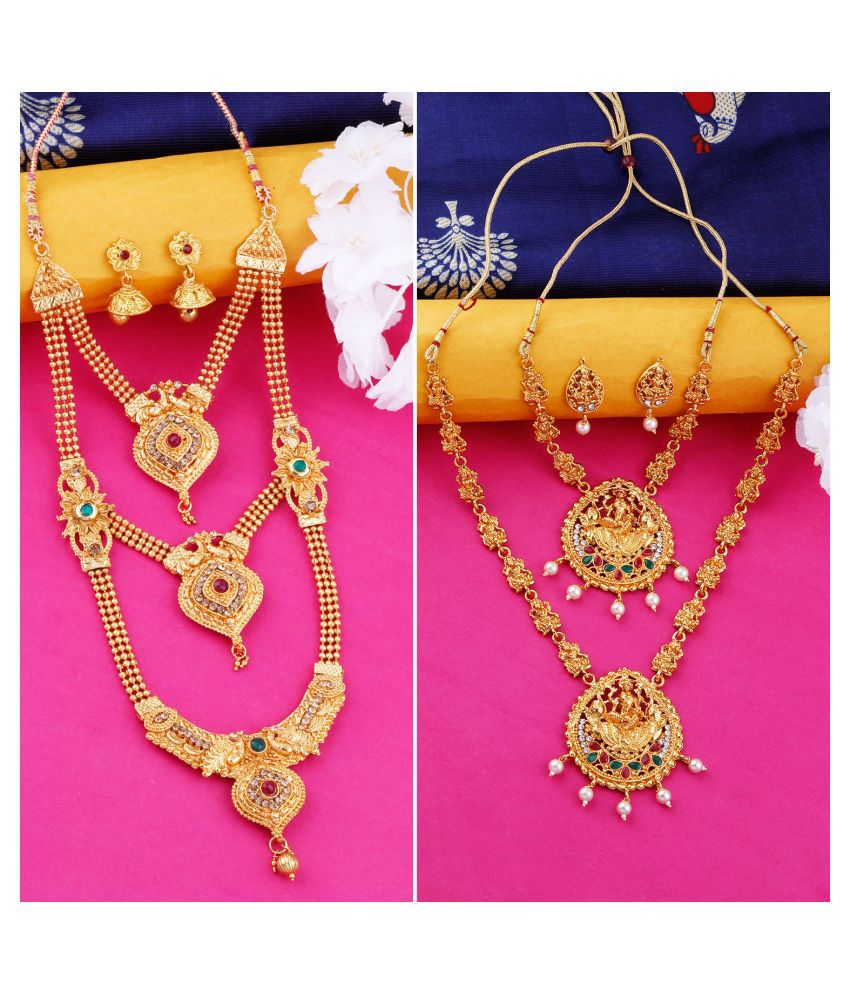 N M CREATION Alloy Golden Contemporary Traditional Antique Necklaces Set