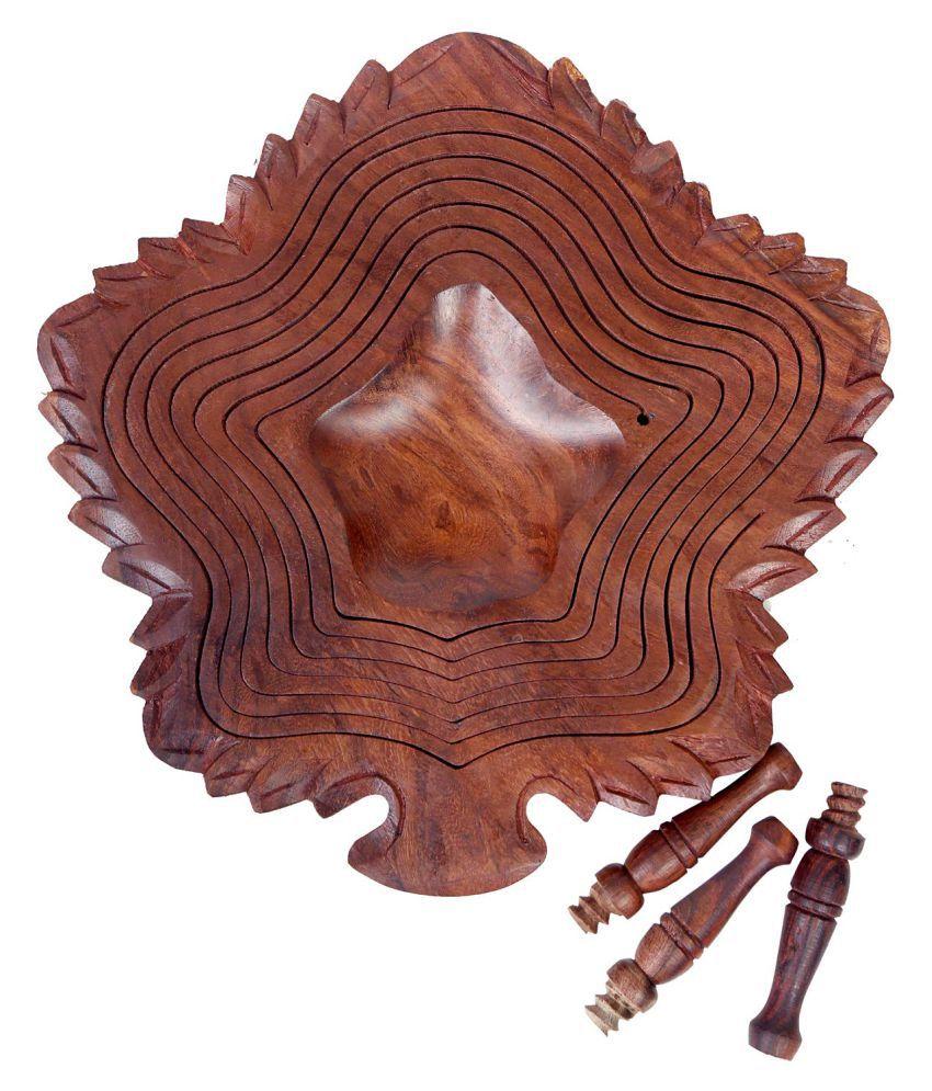 ARMAN ART & CRAFT EXPORT 1 Pcs Wooden Fruit Bowl 500 mL