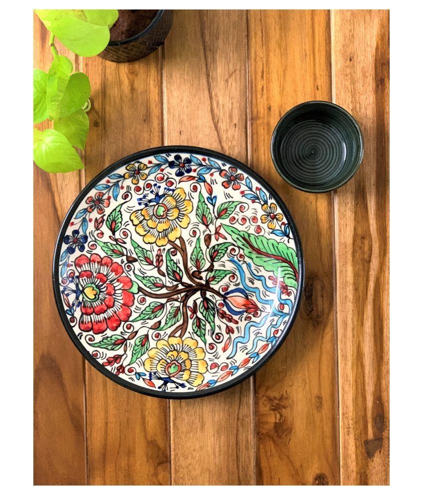 Backspace White Plate Bowl Ceramic Dinner Set of 2 Pieces