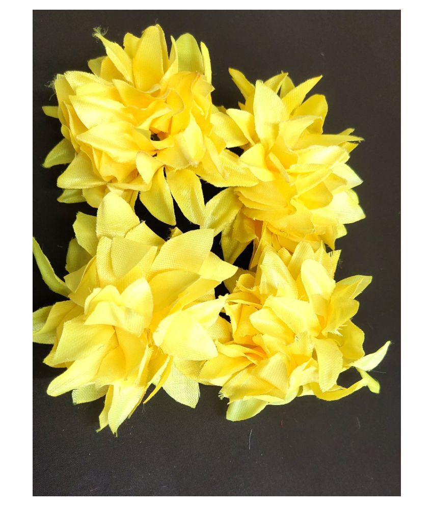 12pcs Yellow Color Artificial Flowers for Diwali & Room Decoration