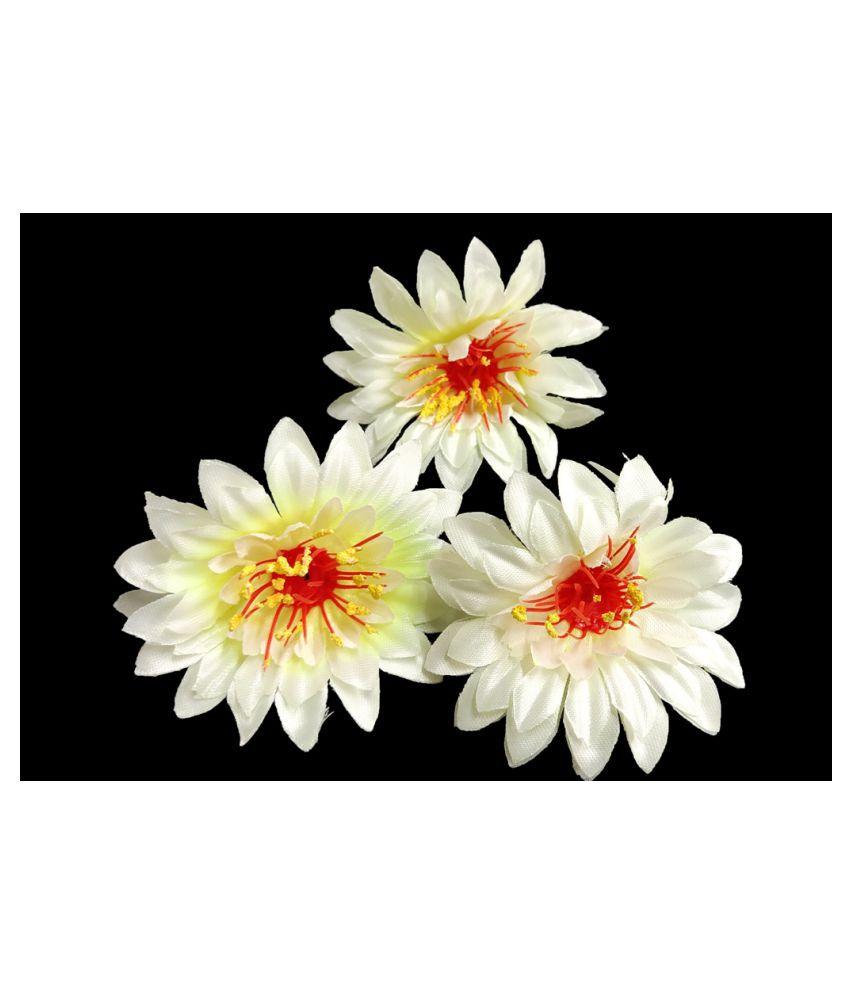 6pcs Off White Color Artificial Flowers for Diwali & Room Decoration