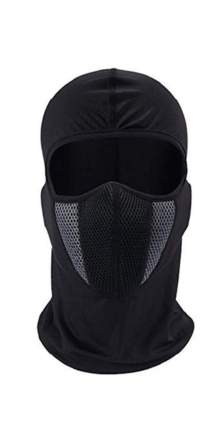 9lives Unisex Full Face Cover Breathable Cotton Blend Balaclava/ Rider Black and Grey Mask