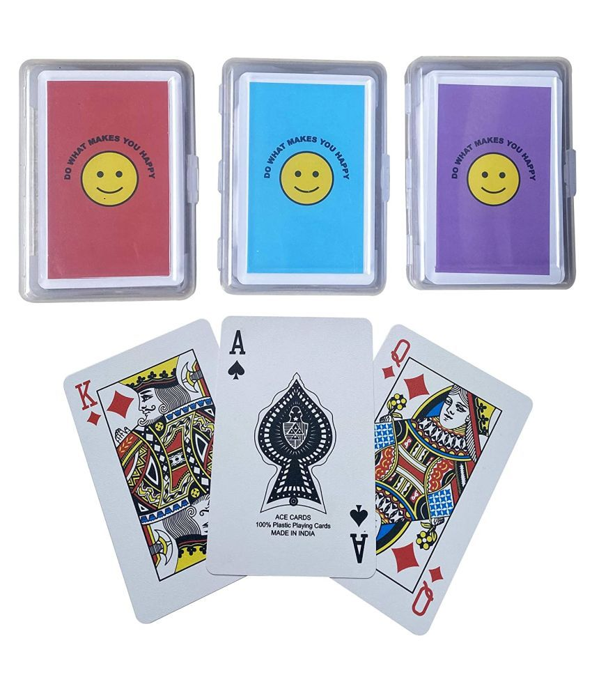The Ace Card Company Bridge Plastic Emoji Playing Cards, Washable - Set of 3 - Made in India