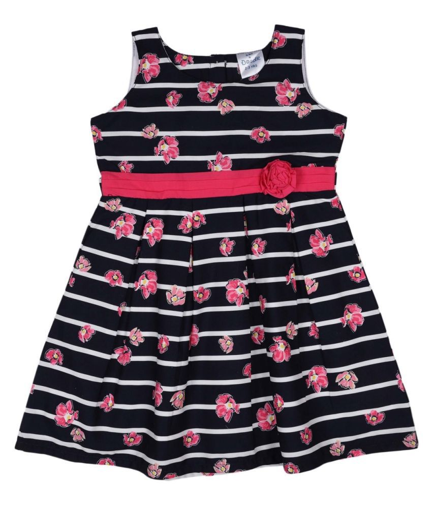 Doodle Navy Coloured Sleeveless Dress for Girls