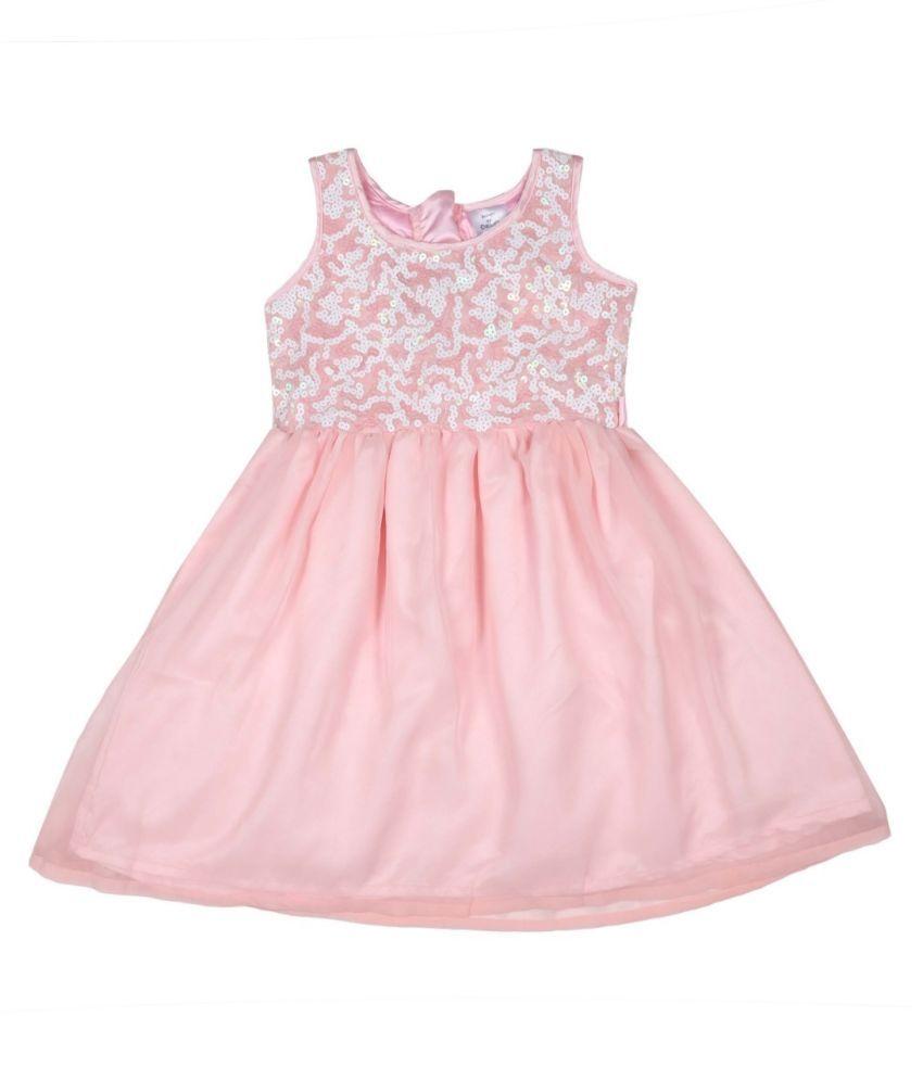Doodle Peach Coloured Sleeveless Dress for Girls