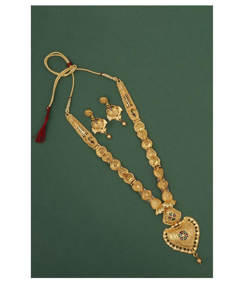 Piah Fashion Alloy Golden Long Haram Designer High Gold Plated Necklaces Set