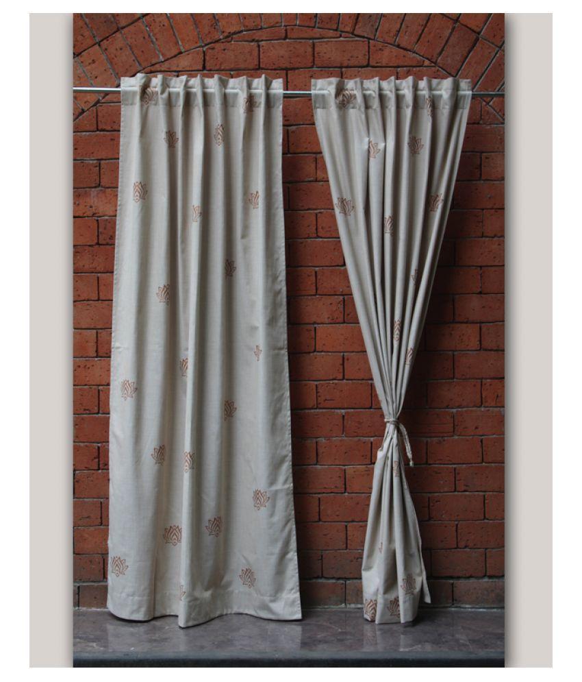 Zeba Single Door Loop Cotton Curtains Cream